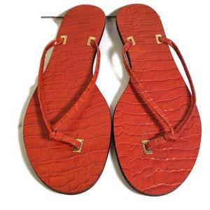 Ralph Lauren Lulu Patent Crocodile Thong Sandal 7M